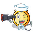 sailor with binocular chronometer character vector image vector image