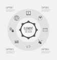 seo icons set collection of video player report vector image vector image