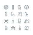 set of car accessories line icons vector image