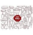 Set of hand drawn BBQ doodles vector image vector image