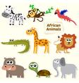 Set of jungle animals Cute cartoon African animals vector image vector image