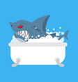 shark in bath sea predator in bathroom vector image vector image