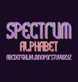 spectrum alphabet iridescent colorful font vector image vector image