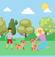 summer park boy playing with puppy joyful man vector image