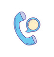 telephone handset message phone fill and line vector image