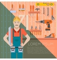 Tool shed with worker2 vector image vector image