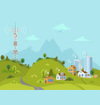 transmission tower on landscape with signal waves vector image vector image