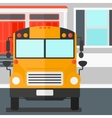 Yellow bus on the background of school building vector image