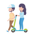 young woman riding electric scooter and man walk vector image
