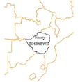 Zimbabwe hand-drawn sketch map vector image