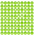 100 business icons set green circle vector image vector image