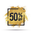50 percent off offer with gold splash vector image vector image