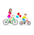 active family vacation mother and son are riding vector image