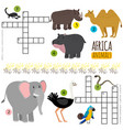 african animals mini crosswords vector image