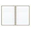 Blank Realistic Open Notebook With Lines vector image