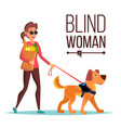 blind woman person with pet dog companion vector image