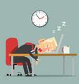 businessman character sleeping at work vector image vector image