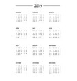 calendar wall 2019 template vector image