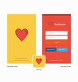 company heart splash screen and login page design vector image vector image
