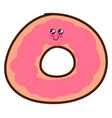 cute pink donut on white background vector image vector image