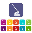 cutting machine icons set flat vector image vector image