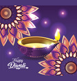 diwali vassel with lit and flowers mandalas vector image