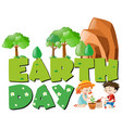 earth day theme with kids planting trees vector image vector image