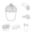 fast food outline icons in set collection for vector image vector image