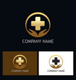 gold heath care medic logo vector image