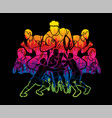 group rugplayers action cartoon graphic vector image vector image