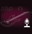guitar on a burgundy vector image