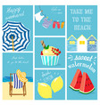 hand drawn summer cards collection vector image