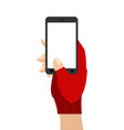 hands in mittens hold phone winter gloves and vector image vector image