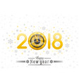 happy new year 2018 silver golden logo icon vector image