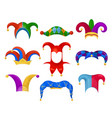 jester or fool hat set on white background vector image vector image