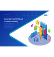 landing page template shopping online concept vector image