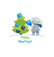 Little boy with christmas tree Adorable kids in vector image