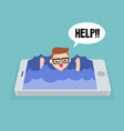 mobile addiction concept young nerd drowning in vector image vector image