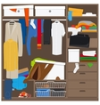 Open wardrobe with mess clothes vector image vector image