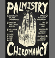 palmistry chiromancy - white on a blackboard vector image vector image