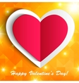 Paper heart isolated on shiny orange background vector image vector image
