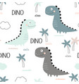 pattern cute dinosaurs vector image vector image