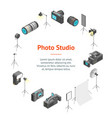 photo studio equipment signs 3d banner card circle vector image vector image