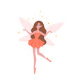 pretty fairy in beautiful dress and with butterfly vector image vector image