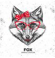 retro hipster animal fox hand drawing muzzle vector image