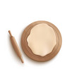 rolled dough piece in round shape lying on wooden vector image