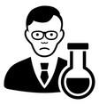 sad chemist black icon vector image
