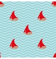 Sailing ship with waves geometric seamless pattern vector image