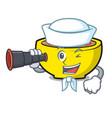sailor with binocular soup union mascot cartoon vector image vector image