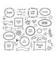 scrapbook sketch elements doodle square borders vector image vector image